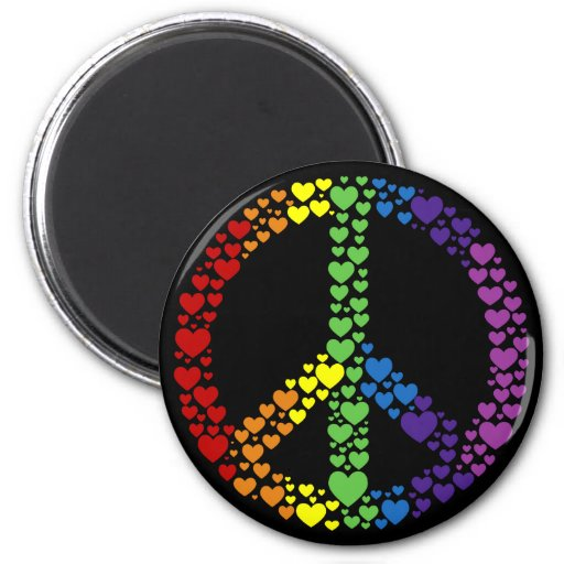 Rainbow Hearts Peace Sign Magnet Refrigerator Magnet