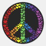 Rainbow Hearts Peace Sign Stickers
