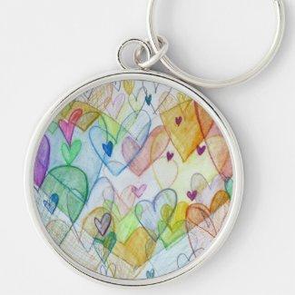 Rainbow Hearts Pendant Art Charm Keychains