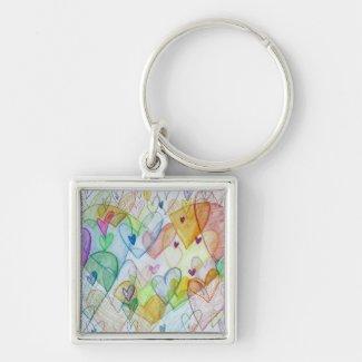 Rainbow Hearts Pendant Art Keychain Charm