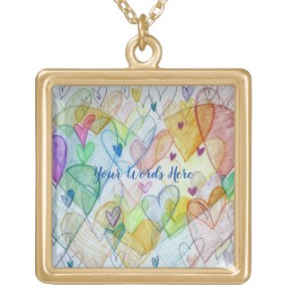 Rainbow Hearts Pendant Charm Necklace