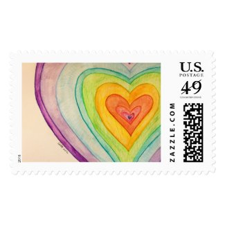 Rainbow Hearts Personalized Custom Postage Stamps