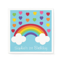 Rainbow Hearts Personalized Napkins