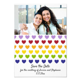 Rainbow Hearts Photo Wedding Save The Date Invitation