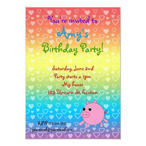 Rainbow hearts pig birthday invitations