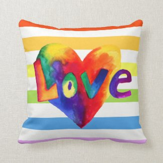 Rainbow Hearts Pillow With The Word Love