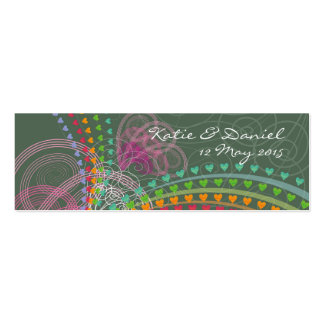 Rainbow Hearts Pink Swirls Thank You / Gift Tag Mini Business Card