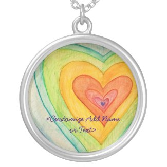 Rainbow Hearts Silver Necklace Pendants