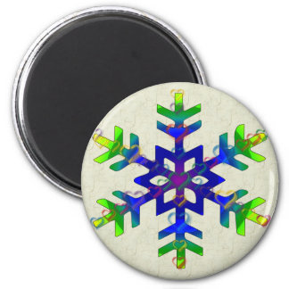 Rainbow Hearts Snowflake 2 Inch Round Magnet