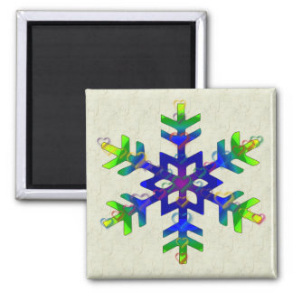 Rainbow Hearts Snowflake 2 Inch Square Magnet