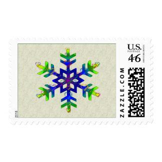 Rainbow Hearts Snowflake Postage