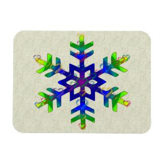 Rainbow Hearts Snowflake Rectangular Photo Magnet