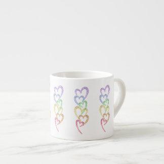 Rainbow Hearts 6 Oz Ceramic Espresso Cup