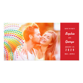 Rainbow Hearts Sprinkles Photo Save The Date Card