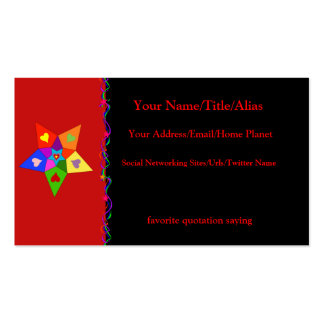 Rainbow Hearts Star Double-Sided Standard Business Cards (Pack Of 100)