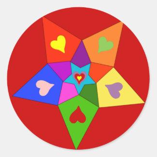 Rainbow Hearts Star Round Sticker