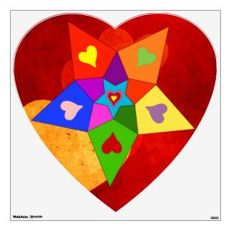 Rainbow Hearts Star Wall Decal