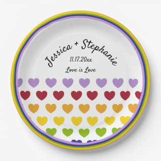Rainbow Hearts Stripes Patterned Personalized Paper Plate