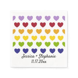 Rainbow Hearts Stripes Personalized Wedding Napkin