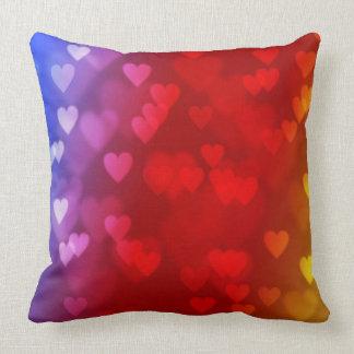 rainbow hearts valentines day pillow