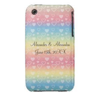 Rainbow hearts wedding favors iPhone 3 cases