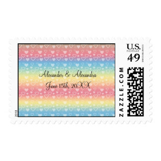 Rainbow hearts wedding favors stamps