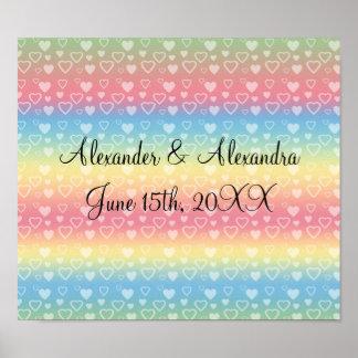 Rainbow hearts wedding favors posters