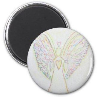 Rainbow Hearts White Angel Art Magnet