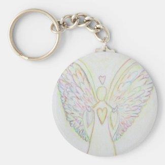 Rainbow Hearts White Light Angel Keychain Art