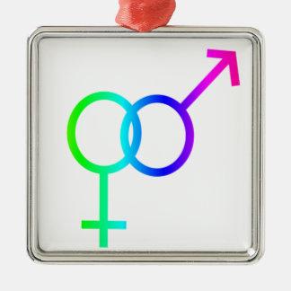 Rainbow Heterosexual Symbol #2 Christmas Tree Ornaments