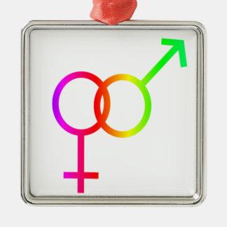 Rainbow Heterosexual Symbol Christmas Ornament