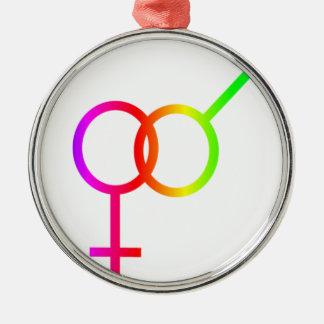 Rainbow Heterosexual Symbol Ornament