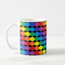Rainbow Hexagons Black Coffee Mug