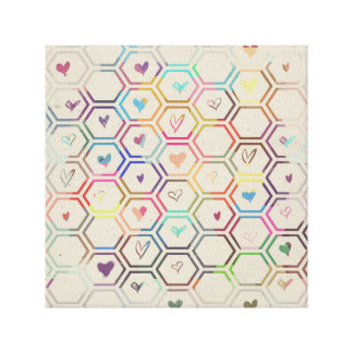 Rainbow Hexagons with Hearts Canvas Print