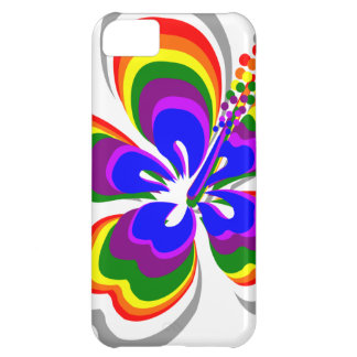 Rainbow hibiscus flower case for iPhone 5C