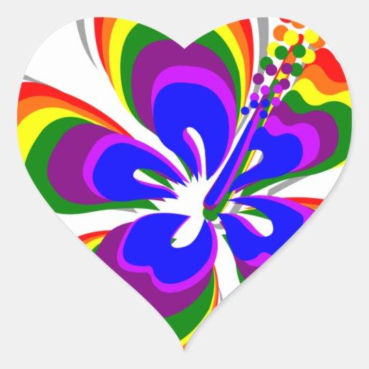 Rainbow hibiscus flower heart sticker