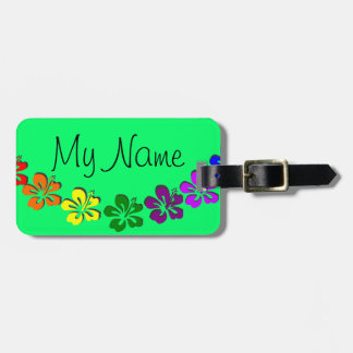 Rainbow hibiscus flower bag tags
