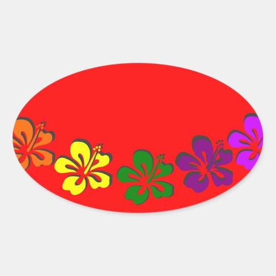 Rainbow hibiscus flower oval sticker