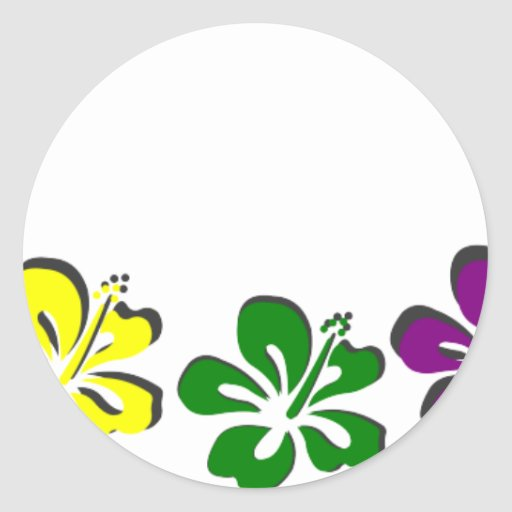 Rainbow hibiscus flower stickers