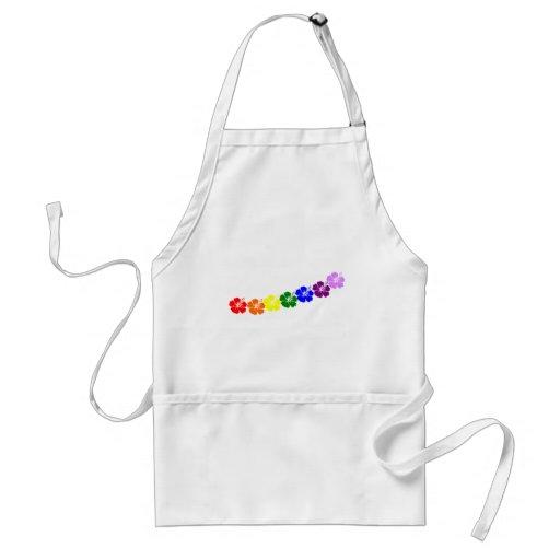 Rainbow hibiscus lei design adult apron
