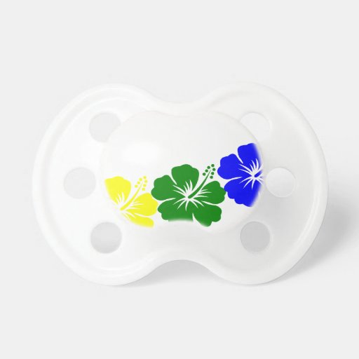 Rainbow hibiscus lei design baby pacifiers