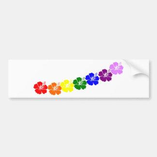 Rainbow hibiscus lei design car bumper sticker