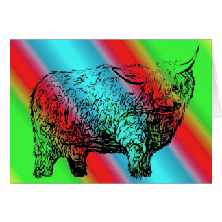 Rainbow Highland Cow Birthday Card
