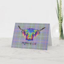 Rainbow Highland cow on a tartan background Card
