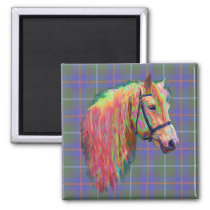 Rainbow highland pony on tartan, customize me! magnet