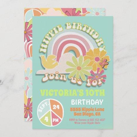 Rainbow Hippie Birthday Party Invitation