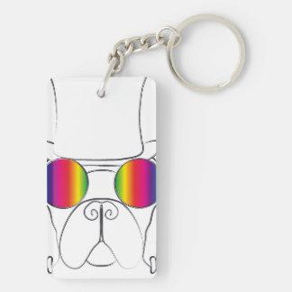 Rainbow Hippie Dog Rectangular Acrylic Key Chain