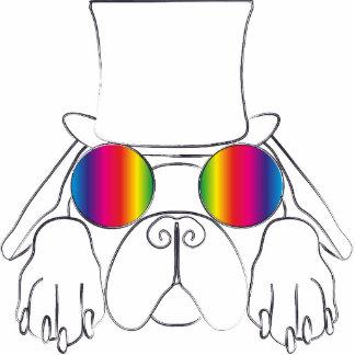 Rainbow Hippie Dog Cut Out