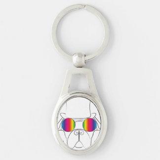 Rainbow Hippie Dog Keychains