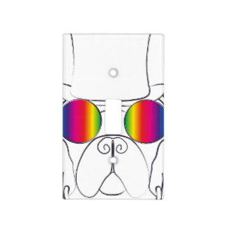 Rainbow Hippie Dog Switch Plate Cover